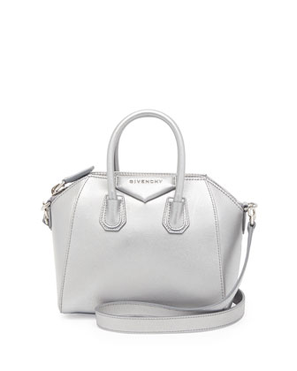 Antigona Mini Metallic Satchel Bag, Silver