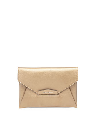 Antigona Metallic Envelope Clutch Bag, Gold