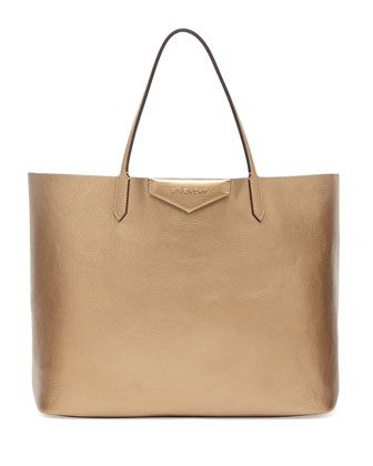 Antigona Large Leather Shopping Tote, Golden