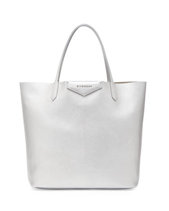 Antigona Medium Leather Shopping Tote, Silver
