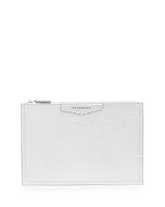 Medium Leather Zip Pouch, Silver