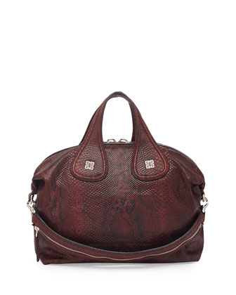 Nightingale Medium Python Satchel Bag, Oxblood