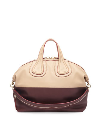 Nightingale Medium Bicolor Satchel Bag, Bordeaux