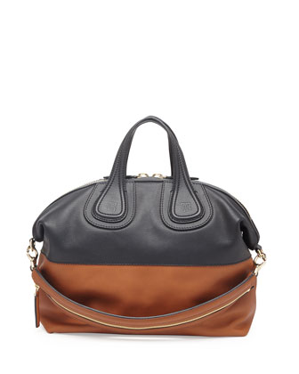 Nightingale Medium Leather Satchel Bag, Black/Brown