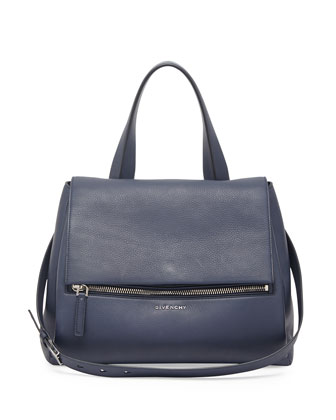 Pandora Medium Waxy Flap Satchel Bag, Navy