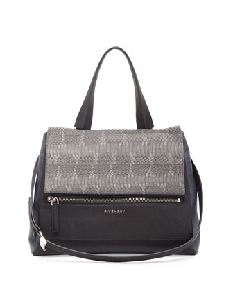Pandora Snakeskin Flap Satchel Bag, Dark Gray