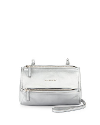 Mini Pandora Metallic Crossbody Bag, Silver
