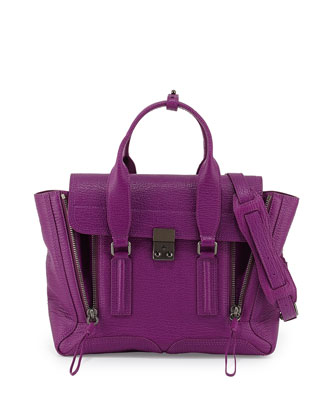 Pashli Medium Leather Satchel Bag, Orchid