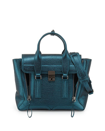 Pashli Medium Metallic Satchel Bag, Turquoise
