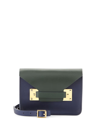 Colorblock Mini Envelope Bag, Green/Navy/Black