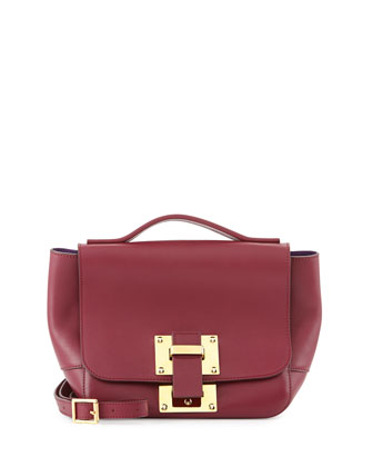Mini Soft Flap-Top Shoulder Bag, Bordeaux