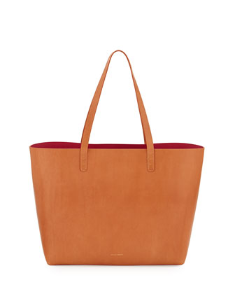 Large Leather Tote Bag with Coated Interior, Camello/Dolly