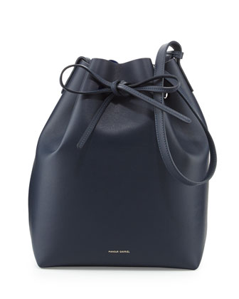 Structured Leather Bucket Bag, Blue/Royal