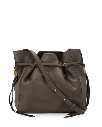 Lazar Leather Bucket Bag, Elephant