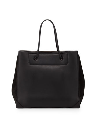 Prisma Large Calfskin Tote Bag, Black