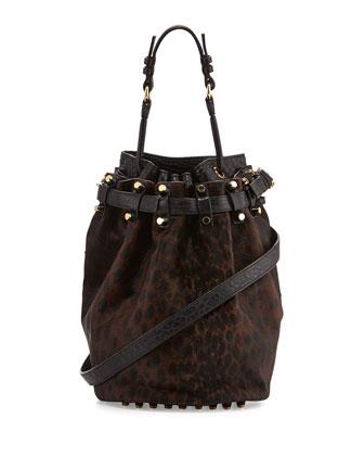 Diego Spotted Calf Hair Bucket Bag, Leopard Haze