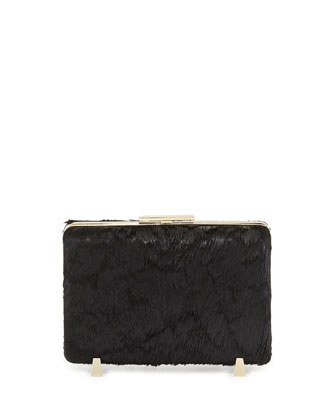 Chastity Calf Hair Minaudiere, Black
