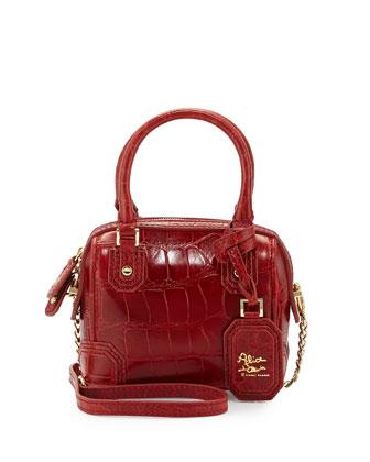 Olivia Mini Embossed Crossbody Bag, Cherry