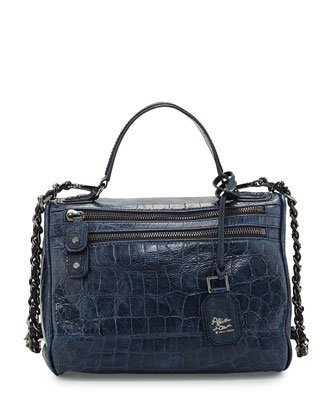 Alana Embossed Satchel Bag, Navy
