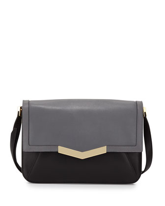 Affine Small Leather Shoulder Bag, Smoke Multi