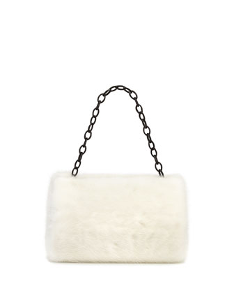 Small Framed Mink Fur Clutch Bag, White