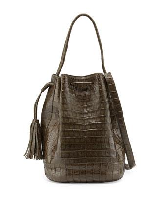Medium Crocodile Tassel Bucket Bag, Army Green