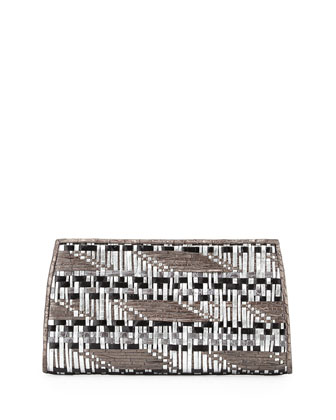Woven Crocodile Razor Clutch Bag, Anthracite