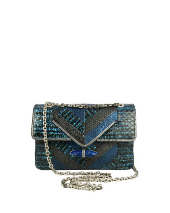 Zahara Patchwork Snake Shoulder Bag, Lapis