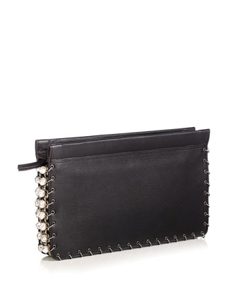 Lenox Pearly Leather Clutch Bag, Black