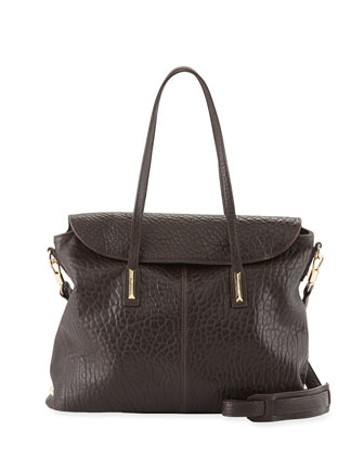 Pyramid Leather Satchel Bag, Raisin