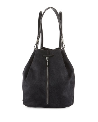 Cynnie Calf Hair Sling Bag, Black