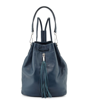 Cynnie Leather Tassel Sling Bag, Blue