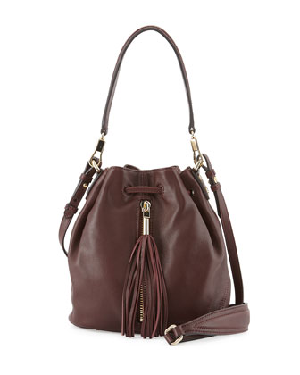 Cynnie Mini Tassel Bucket Bag, Merlot