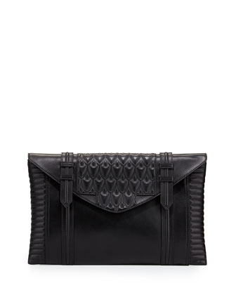 Bowery Oversized Leather Clutch Bag, Black