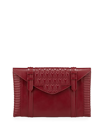 Bowery Embossed Envelope Clutch Bag, Dark Red