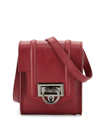 Siren Mini Leather Crossbody Bag, Red