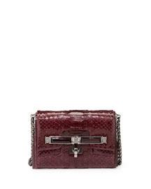 Lux Mini Python Clasp Crossbody Bag, Bordeaux