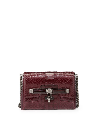 Lux Mini Python Clasp Crossbody Bag, Bordeaux