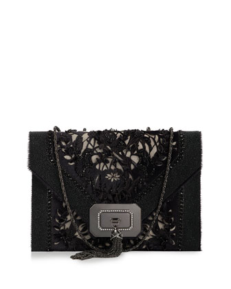 Casati Large Lace Shoulder Bag, Black