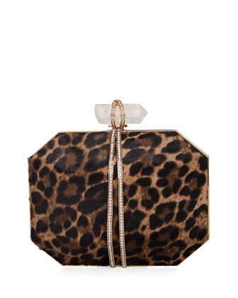 Iris Calf Hair Box Clutch Bag, Leopard