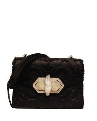 Daphne Mini Calf Hair Crossbody Bag, Black