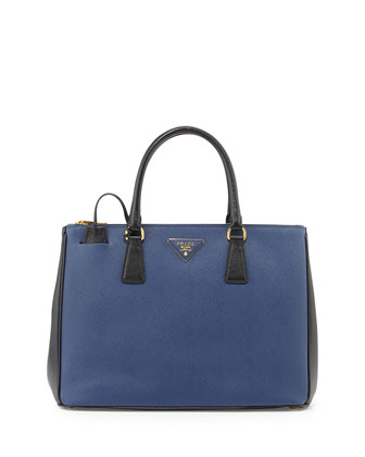 Saffiano Lux Bicolor Double-Zip Tote Bag, Blue/Black (Bluette+Nero)