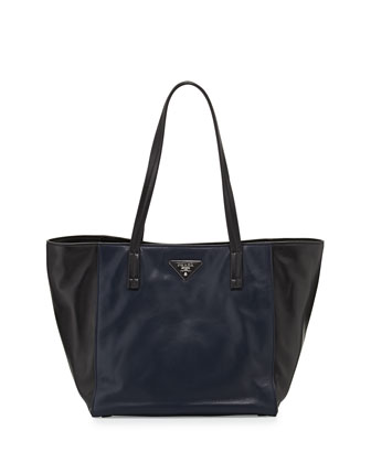 Soft Calfskin Bicolor Tote Bag, Navy/Black (Baltico+Nero)