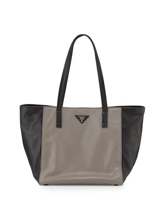 Soft Calfskin Bicolor Tote Bag, Gray/Black (Argilla+Nero)