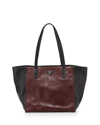 Soft Calfskin Bicolor Tote Bag, Bordeaux/Black (Granato+Nero)