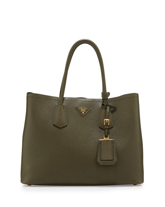 Saffiano Cuir Medium Double Tote Bag, Green (Militare)