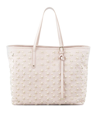 Sasha Star-Studded Tote Bag, Neutral