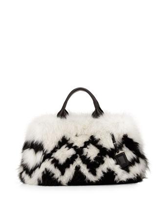 Instarsia Fox Fur Tote Bag, Black/White (Nero+Bianco)