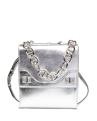 Vitello Soft Chain Shoulder Bag, Silver (Argento)