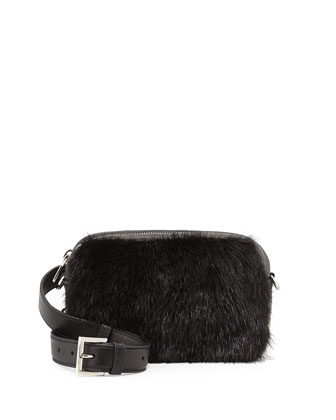 Napa Bomber & Mink Fur Belt/Shoulder Bag, Black (Nero)